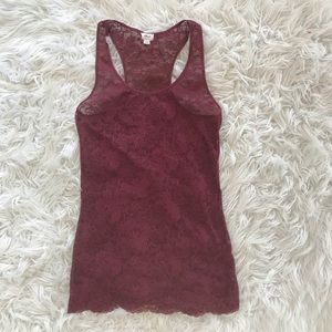 • Wilfred • Lace Tank Top Burgundy Red Medium